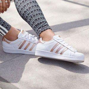 Adidas Original Superstar White & Rose Gold Kicks